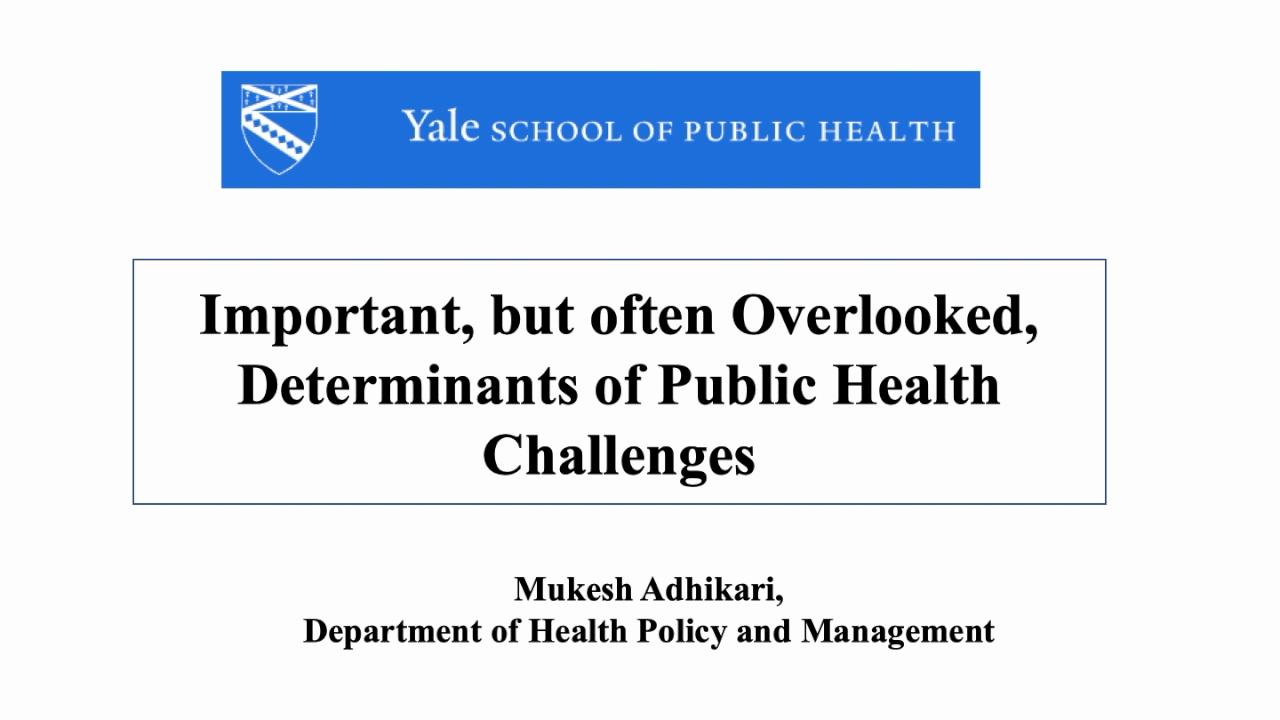 Important, but often Overlooked Determinants of Public Health Challenges